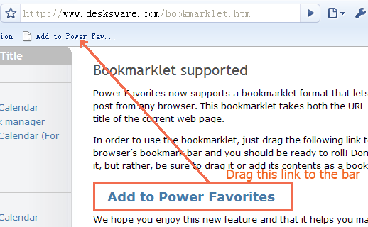 create bookmarklet with Chrome